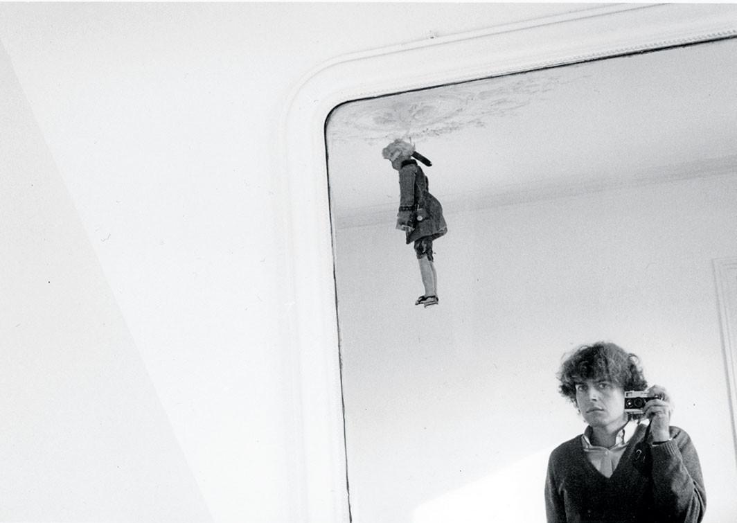 "Hervé Guibert, Autoportrait et pantin (Self-portrait and puppet), ca. 1981, gelatin silver print, 5 7⁄8 × 8 7⁄8"". Courtesy the Estate of Hervé Guibert, Paris, and Callicoon Fine Arts, New York"