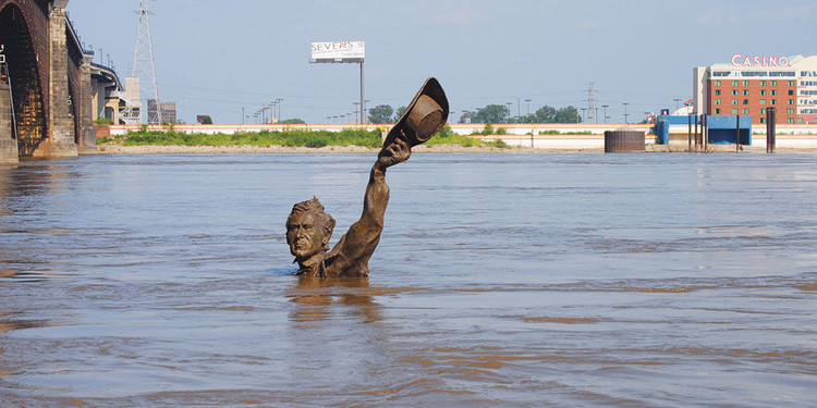 Flooded Lewis and Clark statue, St. Louis, Missouri, August 5, 2010. Ari Heinze