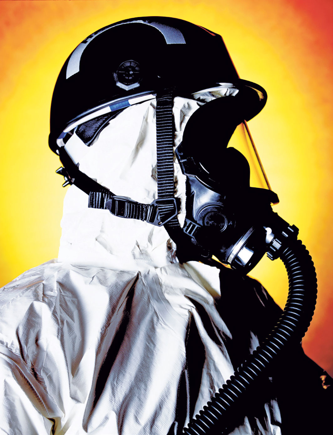 "Andres Serrano, Thomas Buda, Hazmat Chemical Biological Weapons Reponse Team (America), 2002, Cibachrome, 44 × 37"". © Andres Serrano, Courtesy the artist and Galerie Nathalie Obadia Paris/Brussels"