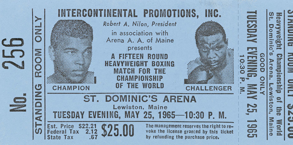Ticket for a Muhammad Ali vs. Sonny Liston boxing match, 1965. Collection of the Smithsonian National Museum of African American History and Culture