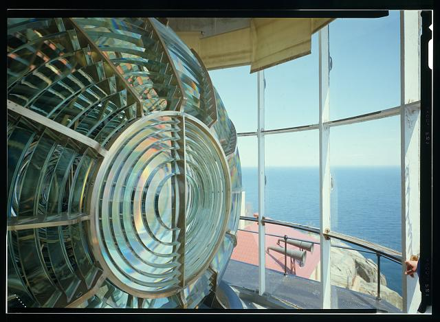 Interior view in lantern of lighthouse of Fresnel lens - Split Rock Lighthouse, Off Highway 61, 38 miles northeast of Duluth, Two Harbors, Lake County, MN. Photo: Lowe, Jet/Library of Congress