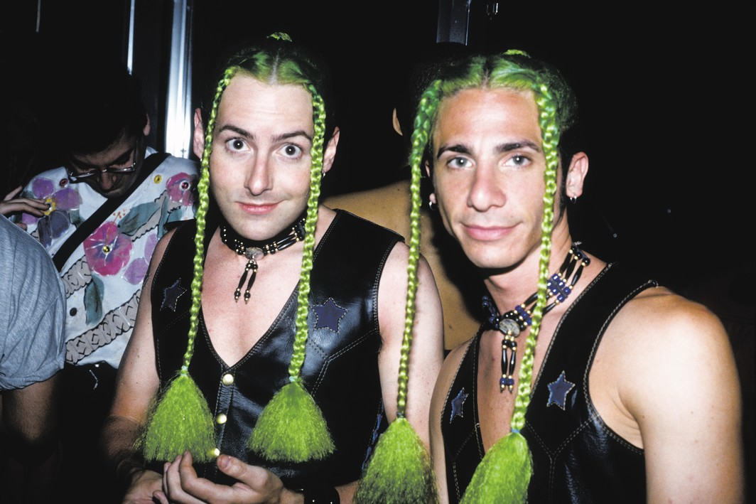 Club goers dressed as The Fabulous Wonder Twins, the Roxy, New York, ca. 1993. From: In the Limelight: The Visual Ecstasy of NYC Nightlife in the 90s.