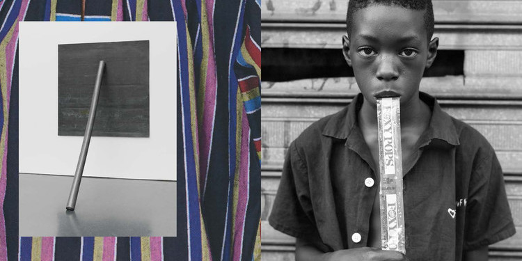 Spread from Duro Olowu: Seeing. Left, inset: Richard Serra, Prop, 1968. Right: Dawoud Bey, A Boy Eating a Foxy Pop, 1988.