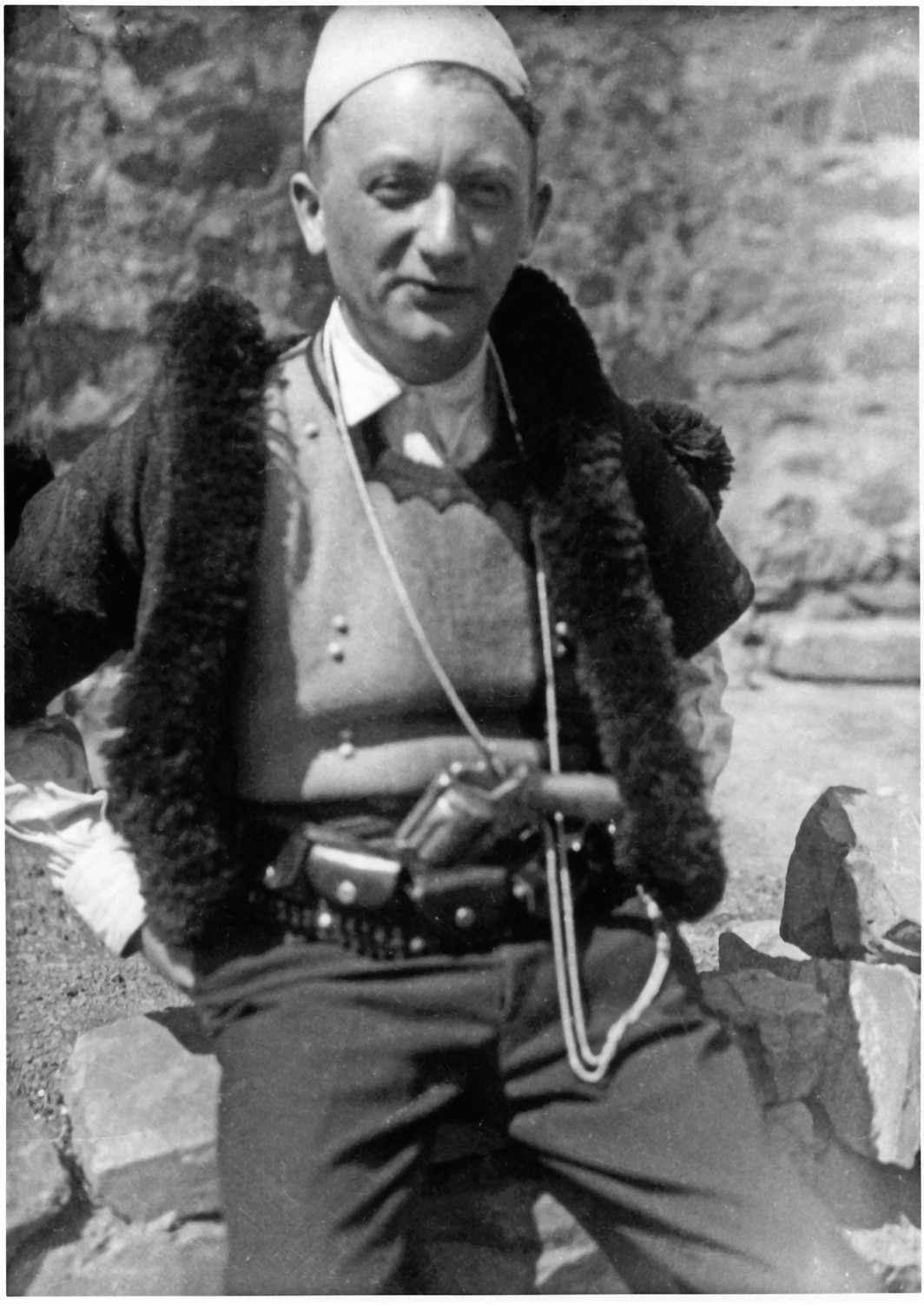 Joseph Roth dressed in traditional Albanian clothing, 1927.