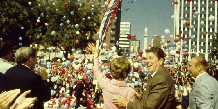 Nancy and Ronald Reagan with Senator Strom Thurmond on the Presidential campaign trail, South Carolina, 1980.
