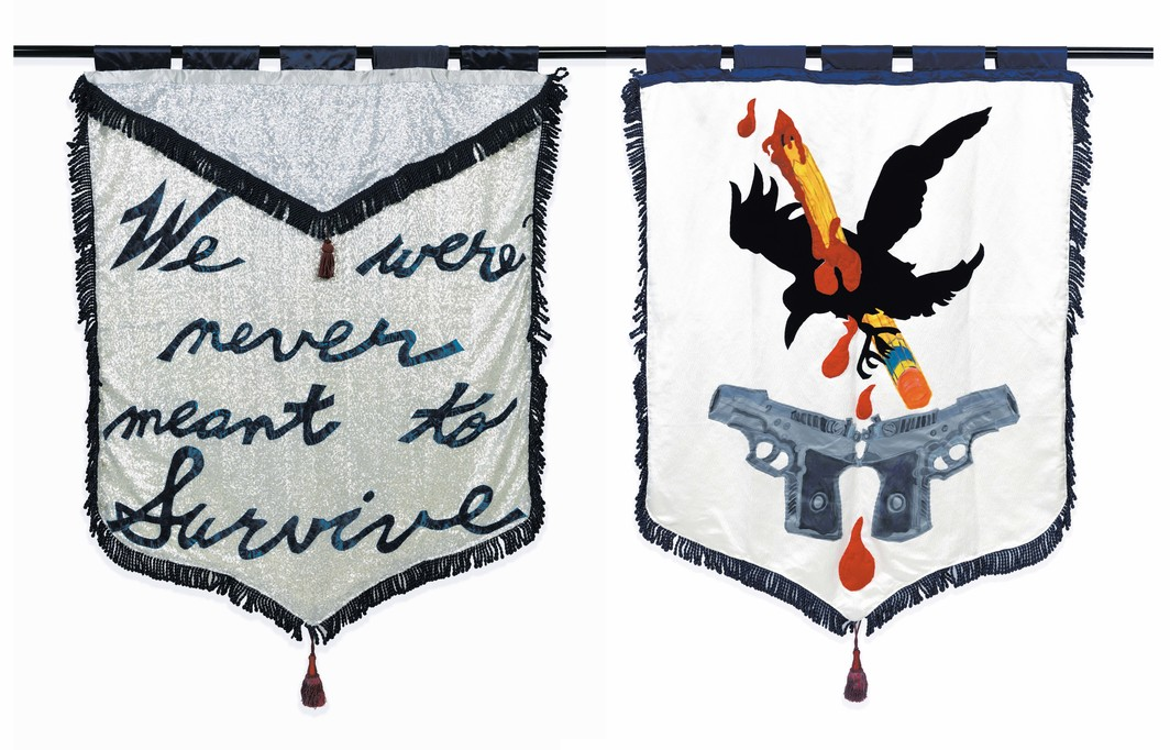 "Cauleen Smith, We Were Never Meant to Survive, 2017, recto/verso, satin, poly-satin, wool felt, upholstery, indigo-dyed silk-rayon velvet, metallic thread, embroidery floss, acrylic fabric paint, poly-silk tassels, sequins, 72 × 52"". From the series"