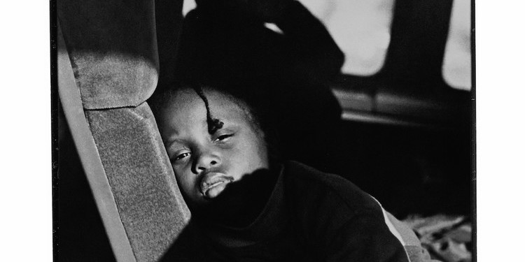 "Ming Smith, Greyhound Bus, Pittsburgh, 1991, gelatin silver print. From the series ""August Moon for August Wilson,"" 1991."