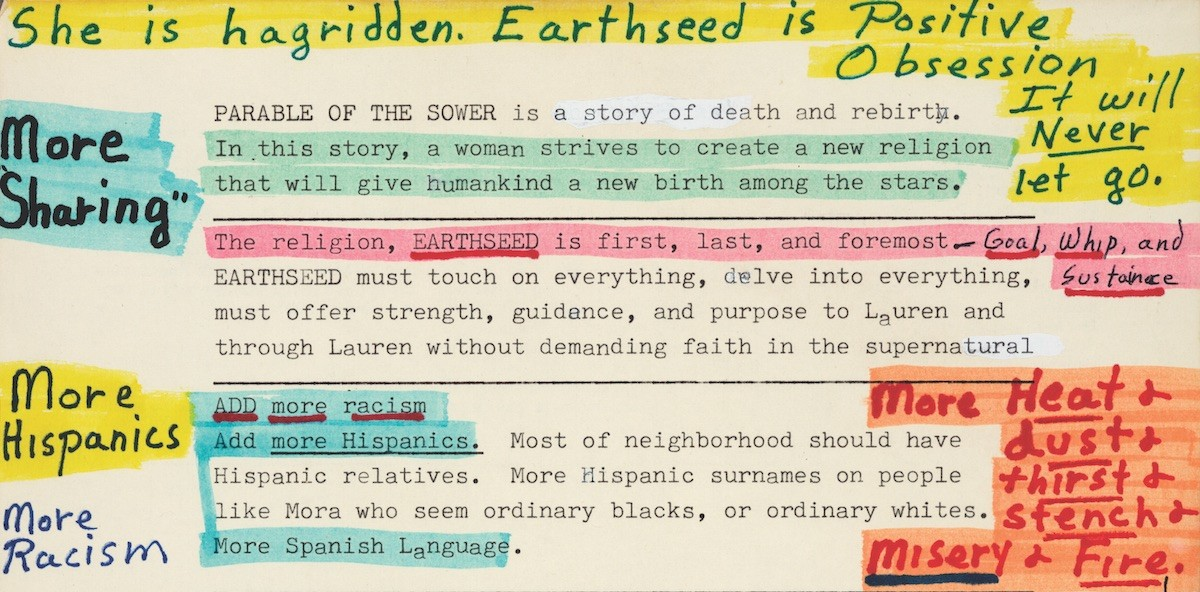 Octavia E. Butler's ca. 1989 manuscript notes for her novel Parable of the Sower, 1993.