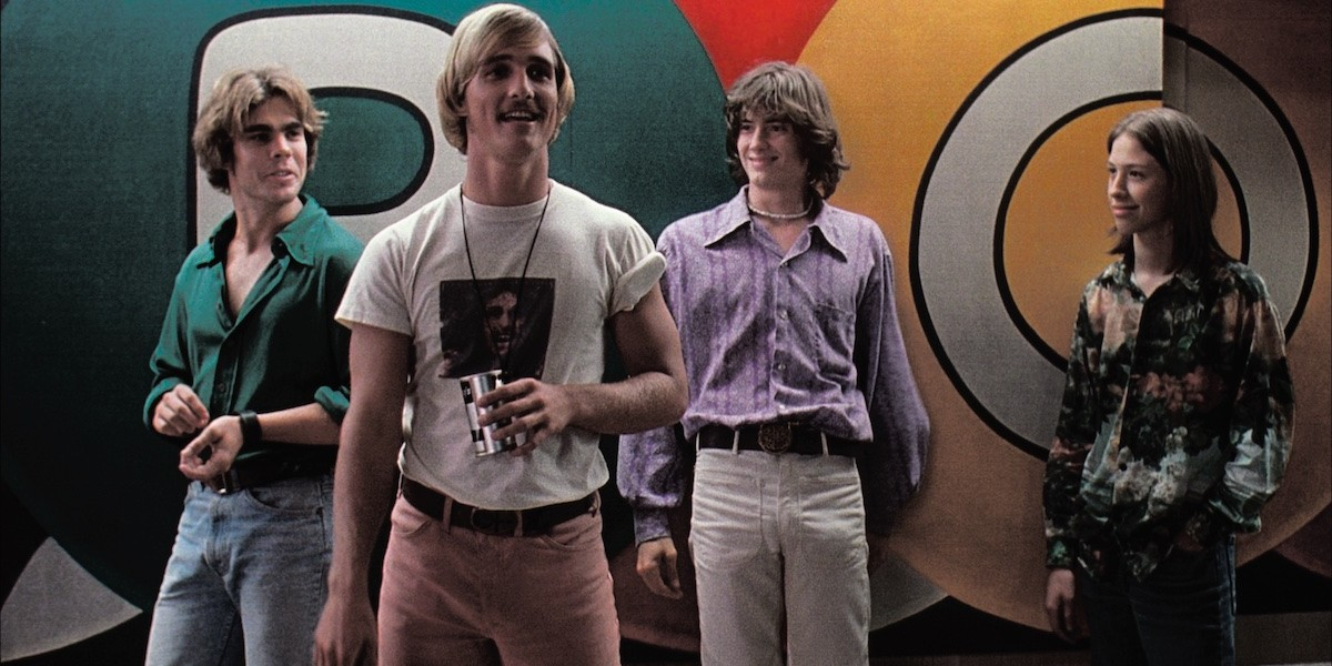 Richard Linklater, Dazed and Confused, 1993. From left: Don (Sasha Jenson), Wooderson (Matthew McConaughey), Pink (Jason London), Mitch (Wiley Wiggins).